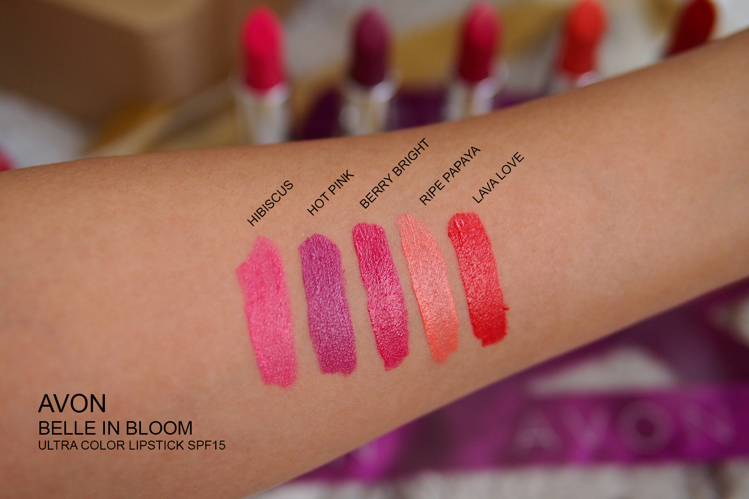 AVON BELLE IN BLOOM LIPSTICKS SWATCHES