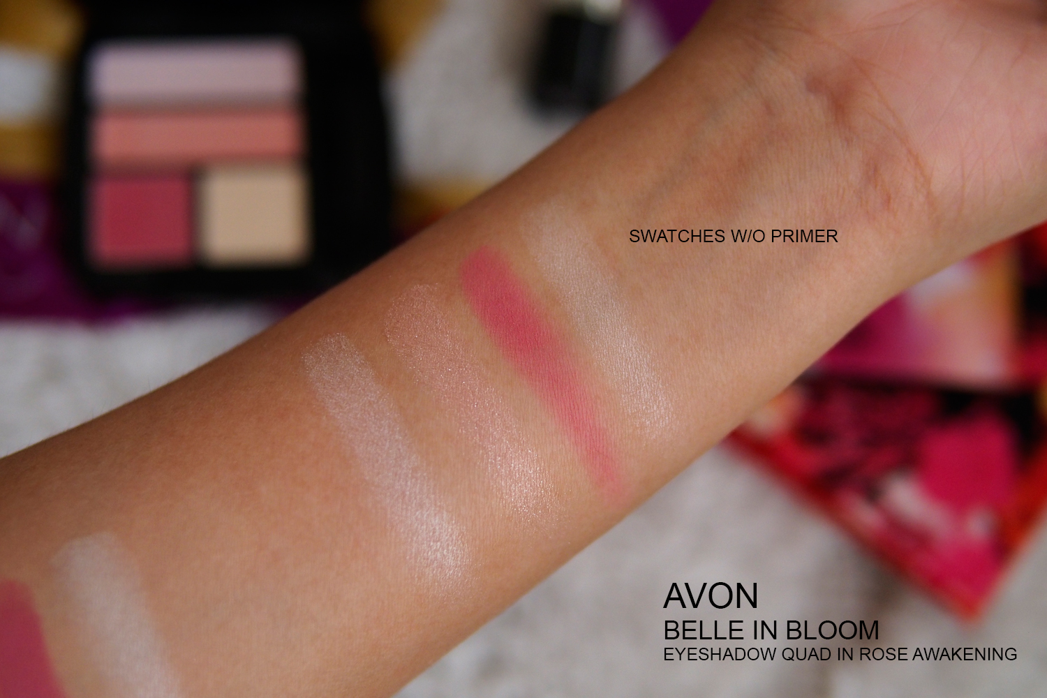 AVON BELLE IN BLOOM EYESHADOW SWATCHES