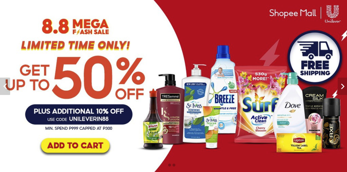 Shopee 8.8 Mega Flash Sale: Unilever Home Store Picks + 10% Off Voucher