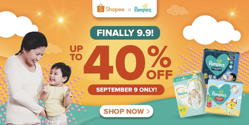 Shopee 9.9: Up to 40% Off Pampers + Free Toys!